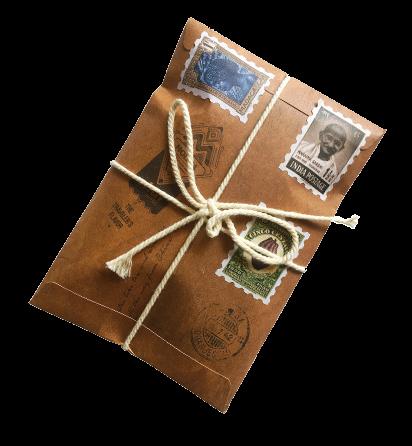 authentieke retro-envelop met vier varianten van Molina Chai